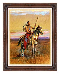 Charles Russell The Scout canvas with dark regal wood frame