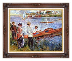Pierre Auguste Renoir Oarsmen At Chatou canvas with dark regal wood frame