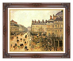 Camille Pissarro Place Du Theatre Francais Rain canvas with dark regal wood frame