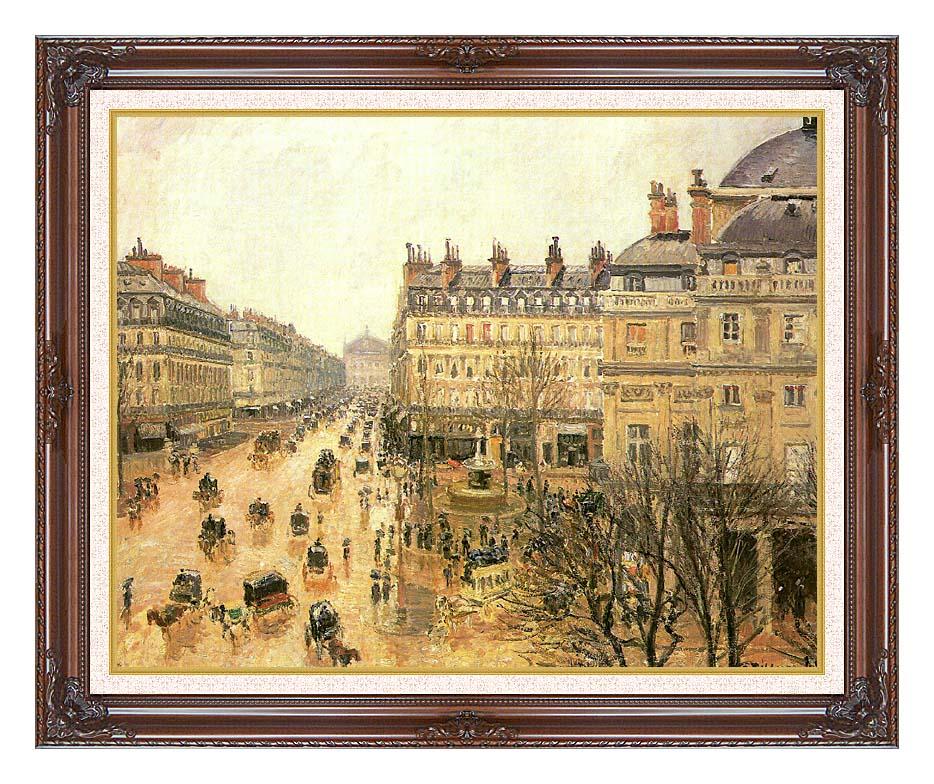 Camille Pissarro Place du Theatre Francais, Rain with Dark Regal Frame w/Liner