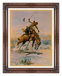 Charles Russell The Bucker canvas with dark regal wood frame