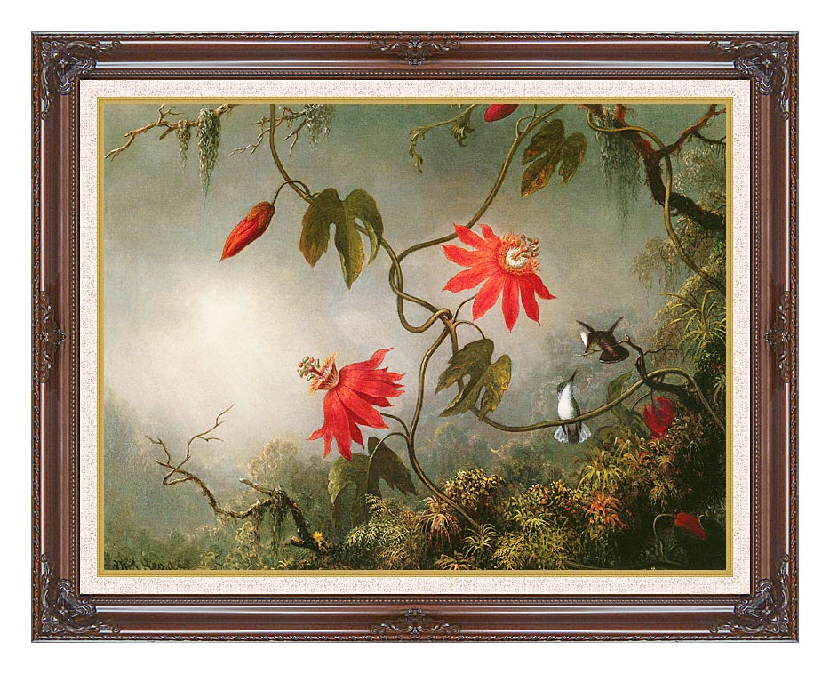 Martin Johnson Heade Passion Flowers and Hummingbirds with Dark Regal Frame w/Liner