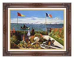 Claude Monet Terrace At Sainte Adresse canvas with dark regal wood frame