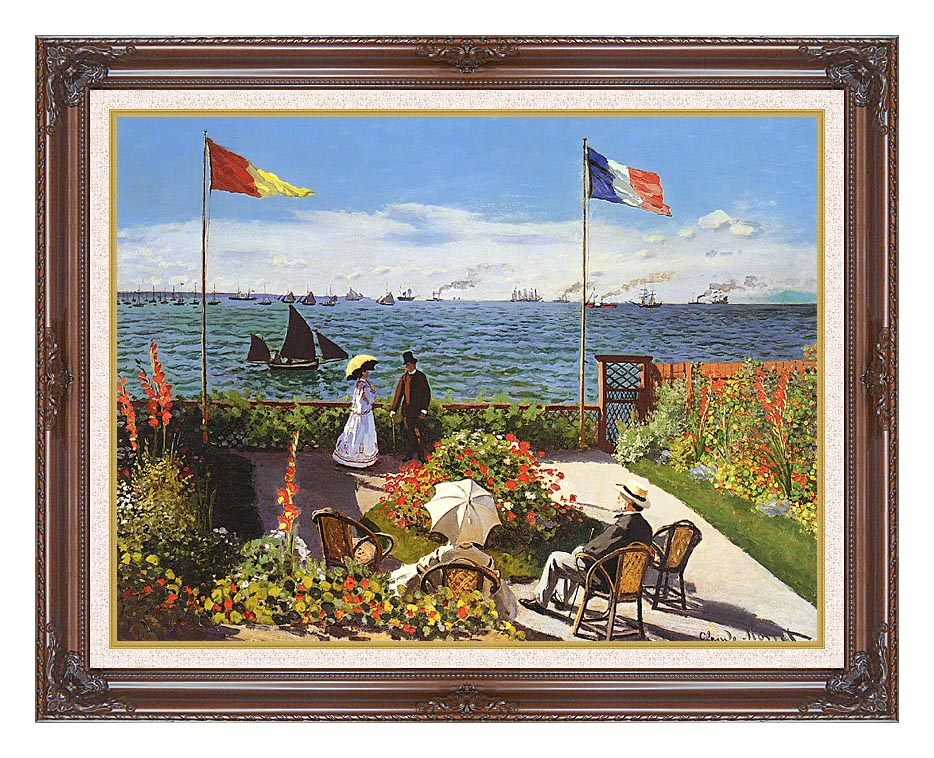 Claude Monet Terrace at Sainte-Adresse with Dark Regal Frame w/Liner