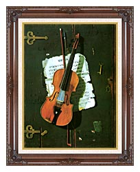 John Frederick Peto The Old Violin canvas with dark regal wood frame