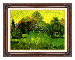 Vincent Van Gogh Public Park With Weeping Willow The Poets Garden I canvas with dark regal wood frame
