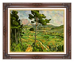 Paul Cezanne Mont Sainte Victoire Seen From Bellevue canvas with dark regal wood frame