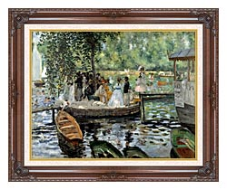 Pierre Auguste Renoir La Grenouillere canvas with dark regal wood frame