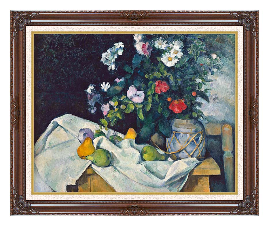 Paul Cezanne Flowers and Pears with Dark Regal Frame w/Liner