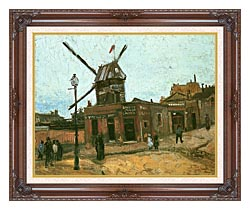 Vincent Van Gogh Le Moulin De La Galette canvas with dark regal wood frame
