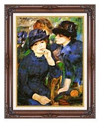 Pierre Auguste Renoir Two Girls canvas with dark regal wood frame