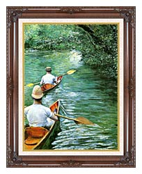 Gustave Caillebotte Canoeing canvas with dark regal wood frame