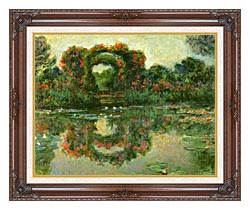 Claude Monet The Flowering Arches Giverny Detail canvas with dark regal wood frame