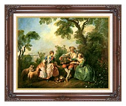 Nicolas Lancret The Birdcage canvas with dark regal wood frame