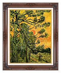 Vincent Van Gogh Pine Trees Against A Red Sky With Setting Sun canvas with dark regal wood frame