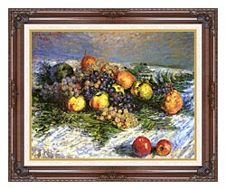 Claude Monet Pears And Grapes canvas with dark regal wood frame