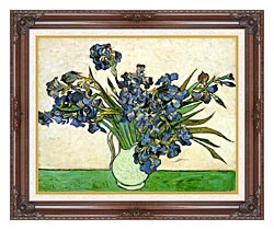 Vincent Van Gogh Still Life Vase With Irises canvas with dark regal wood frame