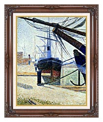 Georges Seurat The Harbor At Honfleur canvas with dark regal wood frame