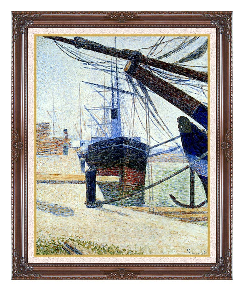Georges Seurat The Harbor at Honfleur with Dark Regal Frame w/Liner