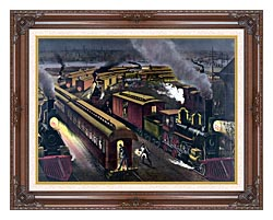 Currier And Ives Night Scene At A Railroad Junction canvas with dark regal wood frame