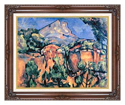 Paul Cezanne Mont Sainte Victoire Seen From Bibemus canvas with dark regal wood frame