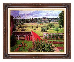 Camille Pissarro View From The Artists Window At Eragny canvas with dark regal wood frame