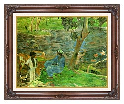Paul Gauguin By The Pond canvas with dark regal wood frame