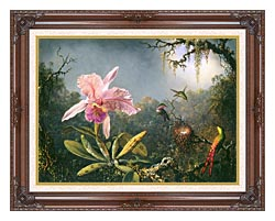 Martin Johnson Heade Cattleya Orchid And Three Brazilian Hummingbirds canvas with dark regal wood frame