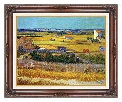 Vincent Van Gogh Harvest At La Crau canvas with dark regal wood frame