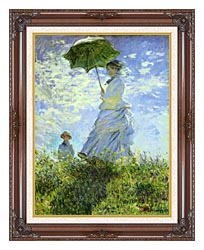 Claude Monet Woman With A Parasol canvas with dark regal wood frame