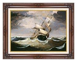 Fitz Hugh Lane Three Master On Rough Sea canvas with dark regal wood frame