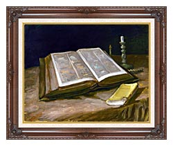 Vincent Van Gogh Still Life With Open Bible canvas with dark regal wood frame