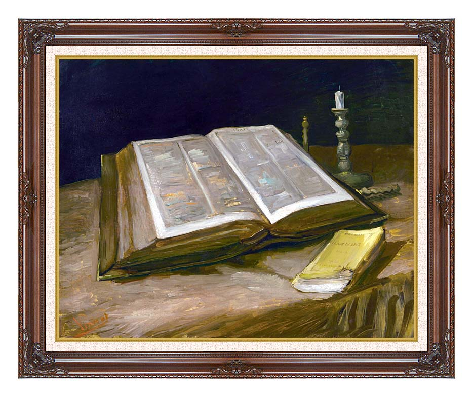 Vincent van Gogh Still Life with Open Bible with Dark Regal Frame w/Liner