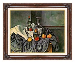 Paul Cezanne Still Life With Peppermint Bottle canvas with dark regal wood frame