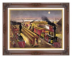 Currier And Ives Night Scene At An American Railway Junction canvas with dark regal wood frame
