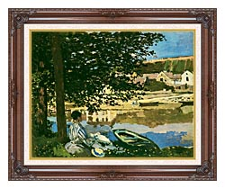 Claude Monet On The Seine At Bennecourt canvas with dark regal wood frame