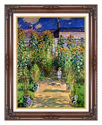 Claude Monet The Artists Garden At Vetheuil canvas with dark regal wood frame