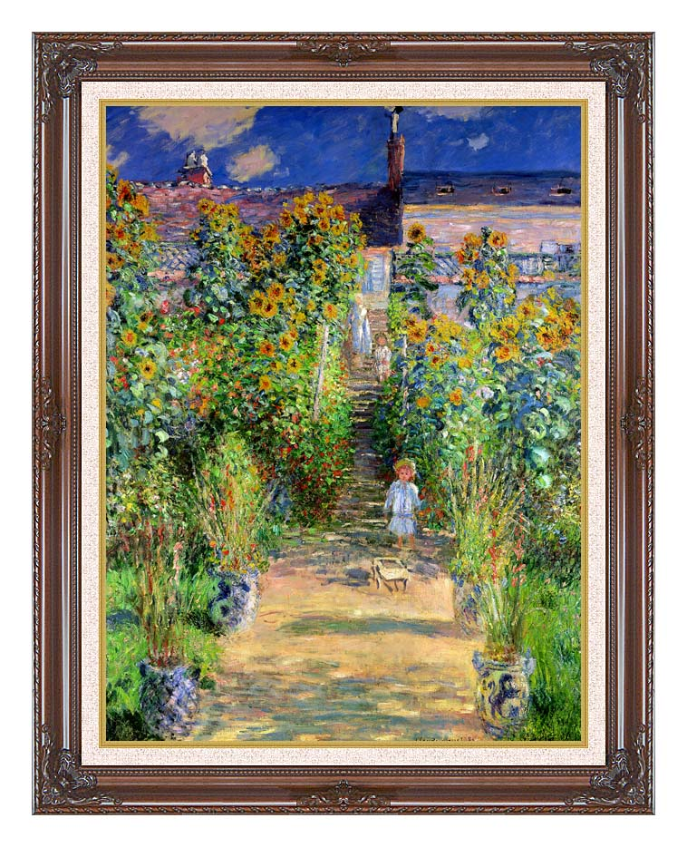 Claude Monet The Artist's Garden at Vetheuil with Dark Regal Frame w/Liner