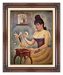 Georges Seurat Young Woman Powdering Herself canvas with dark regal wood frame