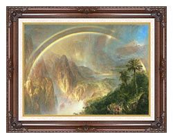 Frederic Edwin Church Rainy Season In The Tropics Detail canvas with dark regal wood frame