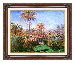 Claude Monet Palm Trees At Bordighera canvas with dark regal wood frame