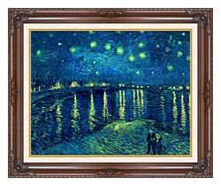Vincent Van Gogh Starry Night Over The Rhone canvas with dark regal wood frame
