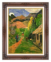 Paul Gauguin Street In Tahiti canvas with dark regal wood frame