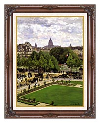 Claude Monet Garden Of The Princess Louvre canvas with dark regal wood frame
