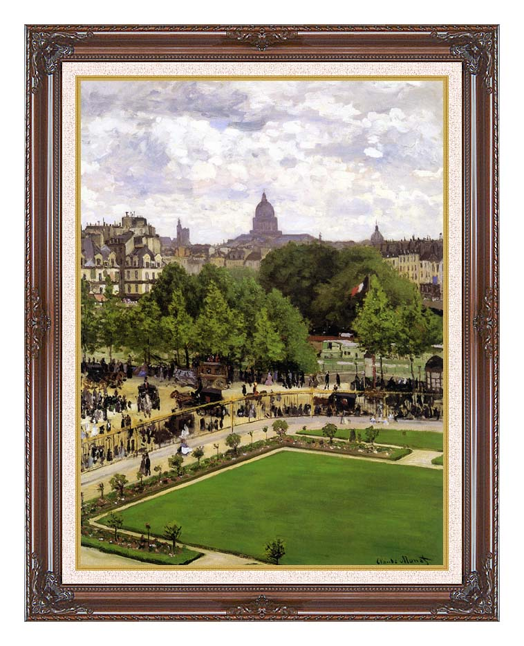 Claude Monet Garden of the Princess, Louvre with Dark Regal Frame w/Liner
