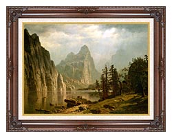 Albert Bierstadt Merced River Yosemite Valley canvas with dark regal wood frame