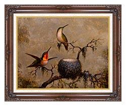 Martin Johnson Heade Hummingbirds And Their Nest canvas with dark regal wood frame