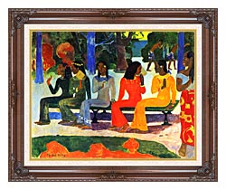 Paul Gauguin We Shall Not Go To Market Today canvas with dark regal wood frame