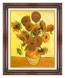 Vincent Van Gogh Still Life Vase With Fourteen Sunflowers canvas with dark regal wood frame