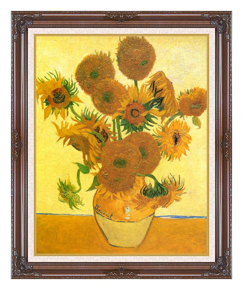 Vincent van Gogh Still Life: Vase with Fourteen Sunflowers with Dark Regal Frame w/Liner